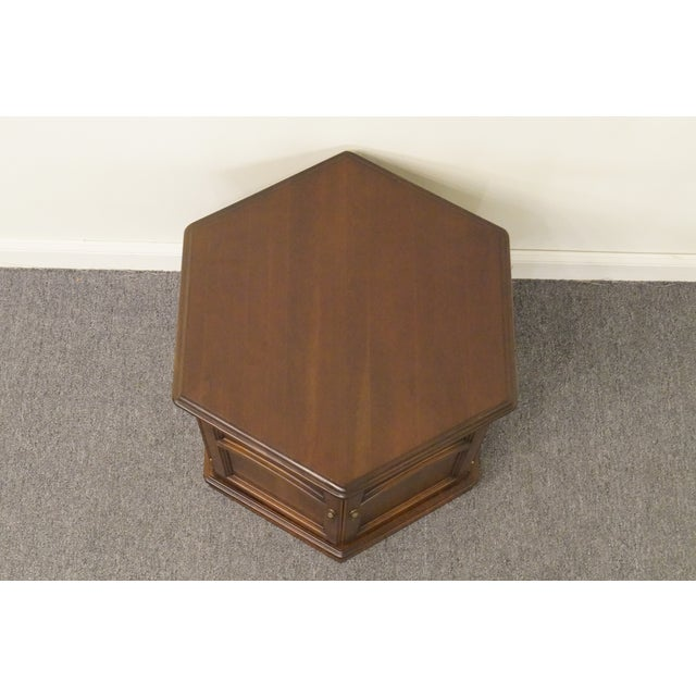 Brown 20th Century British Colonial Kling Solid Cherry Hexagonal Storage End Table For Sale - Image 8 of 13