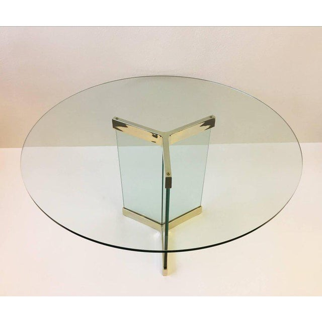 Brass Polished Brass and Glass Dining Table by Leon Rosen for Pace Collection For Sale - Image 7 of 8