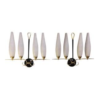 Mid-Century Modern Brass 4-Light Sconces For Sale