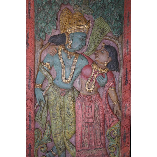 Asian Antique Hand Carved Radha Krishna Divine Love Wall Sculpture For Sale - Image 3 of 4