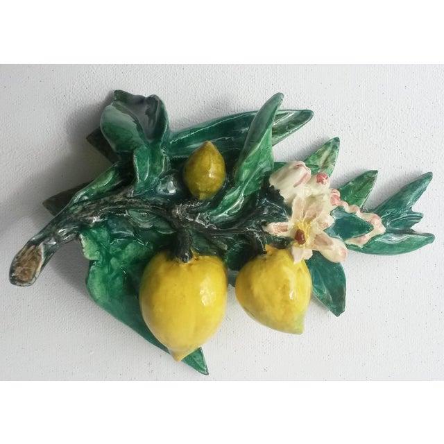 Delphin Massier 1890s Rare Majolica Delphin Massier Lemons Applique For Sale - Image 4 of 7