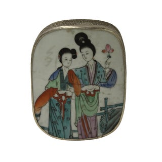 Chinese Nickel & Porcelain Trinket Box For Sale