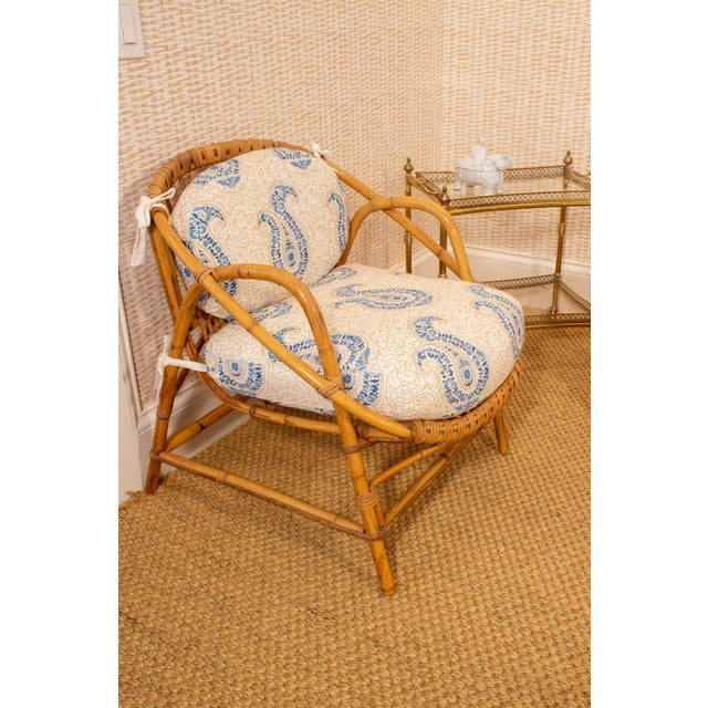 Mid 20th Century Vintage Rattan and Bamboo Armchairs- a Pair For Sale - Image 5 of 7