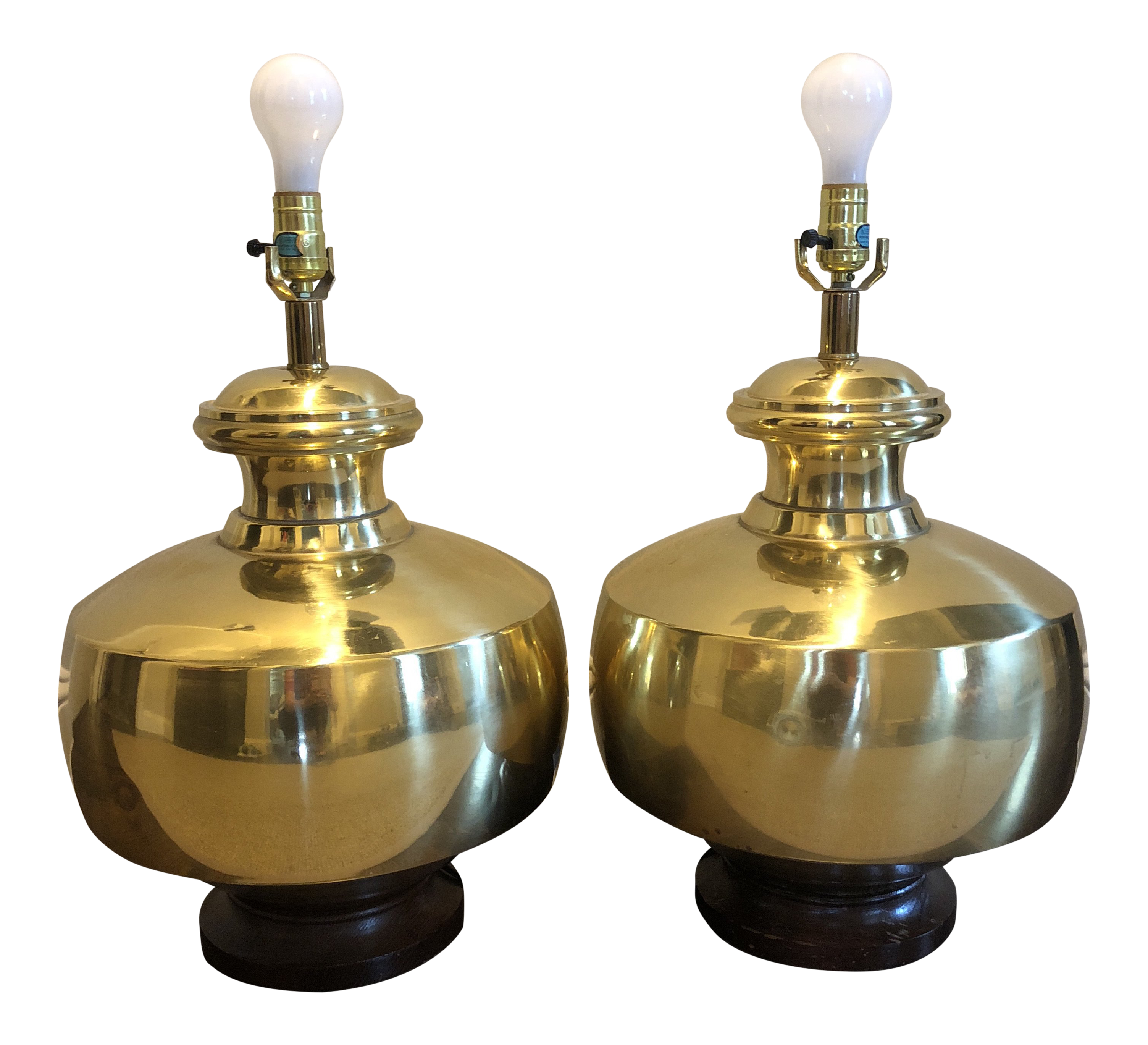 Large Brass Table Lamps A Pair Chairish