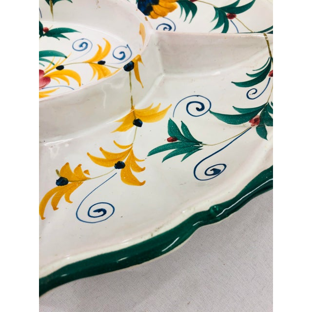 White Vintage Hand Crafted Italian Ceramic Serving Platter For Sale - Image 8 of 13