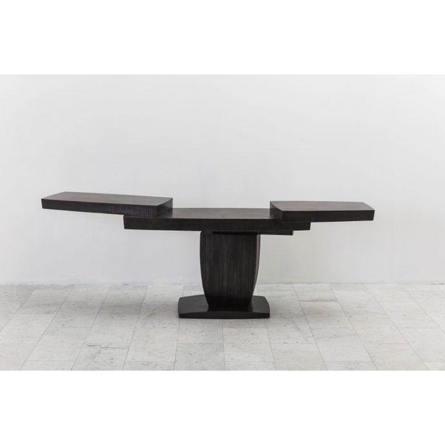 Gary Magakis' unique blackened steel Ledges Console reflects the sculptor's distinct approach to creating bold and dense...
