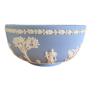Vintage English Neoclassical Wedgwood Jasperware Blue and White Bowl For Sale