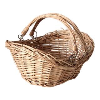 Vintage Bail Handle Wicker Basket For Sale