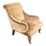 Image of Ralph Lauren Designer Arm Chair W Silk Velvet For Sale
