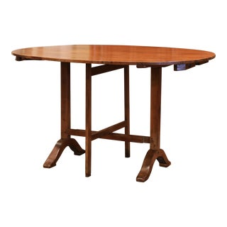 19th Century French Walnut Oval Tilt-Top Wine Tasting Table From Burgundy For Sale