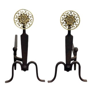 Sunflower Burst Andirons - A Pair