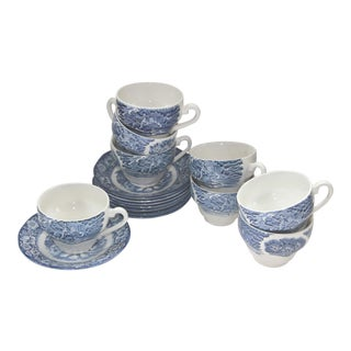 Liberty Blue Staffordshire Transfer Ware S/8 Cups and Saucers For Sale