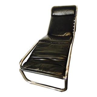 Black Leather & Chrome Wavy Chaise For Sale