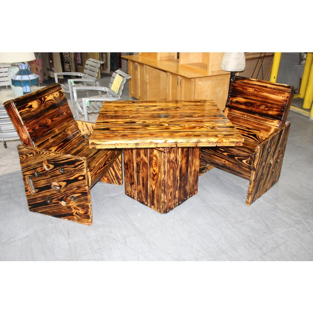 Wood Rustic Wooden Out Door Patio Dining Set - 3 Pieces For Sale - Image 7 of 8