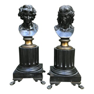Bronze Neoclassical Busts - A Pair