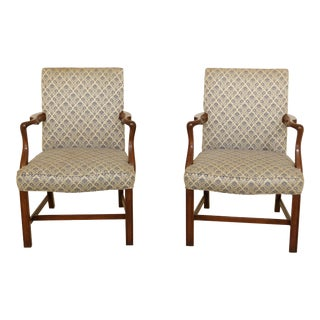 Kittinger Chippendale Style Mahogany Library Armchairs-a Pair For Sale