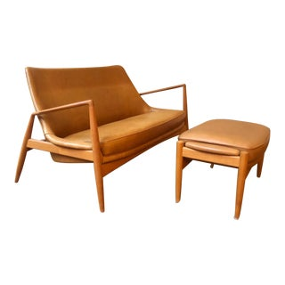 Mid-Century Modern Ib Kofod-Larsen Seal Sofa and Ottoman - 2 Pieces For Sale