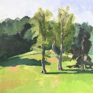 Original Oil Painting - Two Trees Landscape For Sale