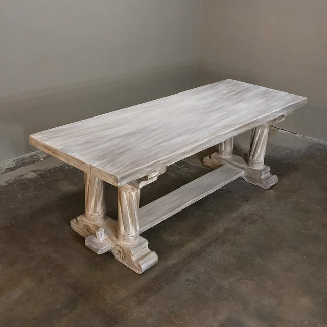 Antique Rustic Gothic Stripped Oak Dining Table For Sale - Image 4 of 8