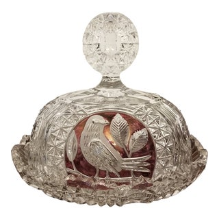 Vintage Echt Bleikristall Hofbauer Ruby Byrdes Collection Crystal Cheese and Cover Dish For Sale