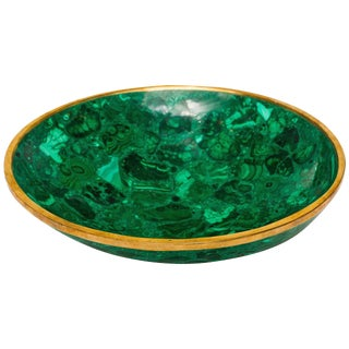 Malachite Bowl With Bronze Rim For Sale