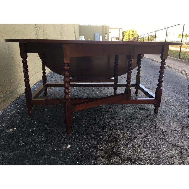Cherry Wood American Sheraton Cherry Acanthus Carved Drop-Leaf Table, Circa 1820 For Sale - Image 7 of 12