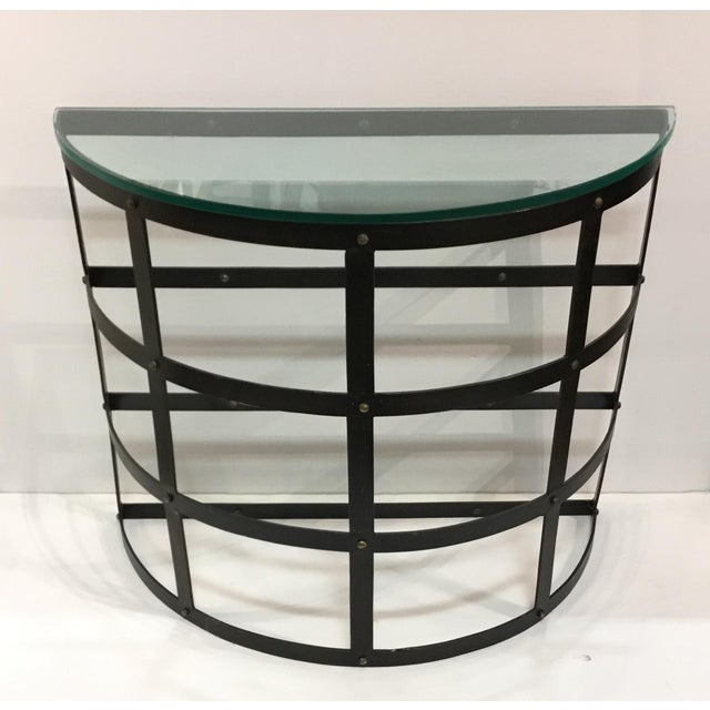 Modern Arteriors Modern Metal and Glass Blackwell Console Table/Demi-Lune For Sale - Image 3 of 5