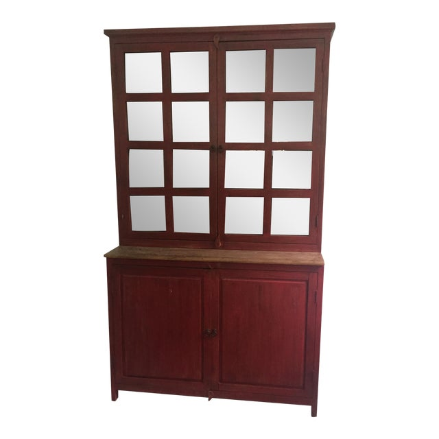 Red Farm Style 2 Piece Pine China Cabinet For Sale