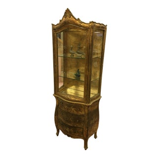 1960s Venetian Style Gold Florentine Wood and Glass Cabinet For Sale