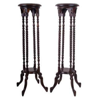 English Traditional Barley Twist Walnut Fern Stands - a Pair