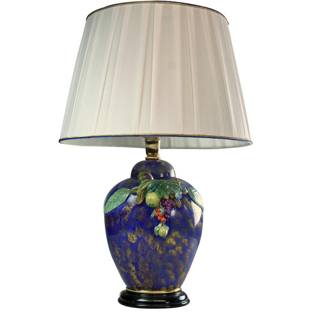 Italian Majolica Table Lamp Hand-Painted Blue For Sale