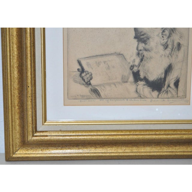"Impressionism Elias Grossman ""Quite Hour"" Etching c.1934 For Sale - Image 3 of 8"