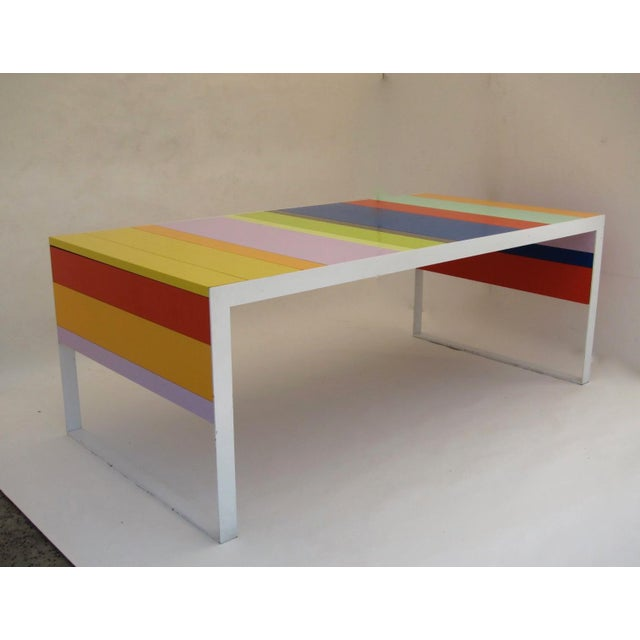 Stunning table from Italy 1980-1990s in wood lacquered and steel powder coated. Very elegant and modern statement as a...