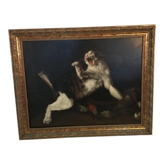 19th C. British Cat Painting ~ Oil on Canvas For Sale