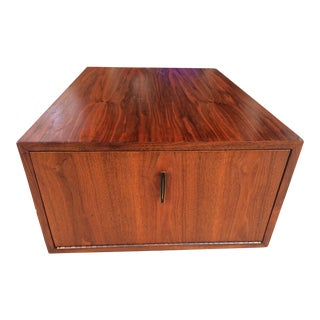 Mid-Century Teak Cabinet 1960s Milo Baughman Style Wood Square Side Table