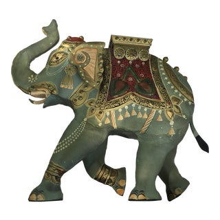 Indian Tin Prancing Polychrome Elephant With Howdahs Figure on Stand For Sale