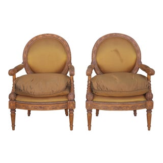 1950s Vintage Carved Arm Chairs- A Pair For Sale
