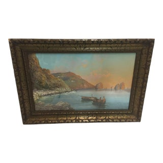 Salvatore Montullo Oil Painting Bay of Napels 19th Century For Sale