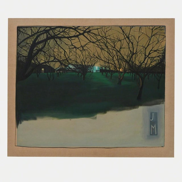A painting of walnut trees at night as seen in Stockton California by the Los Angeles based artist JMary. Signature:...