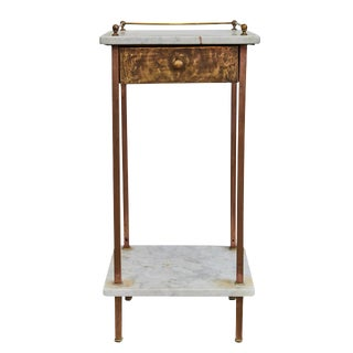 French Brass and Marble Night Stand For Sale