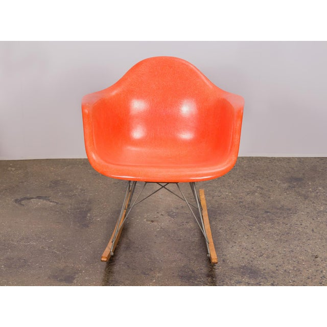 Mid-Century Modern Eames Orange Armchair on Rocker Base For Sale - Image 3 of 11