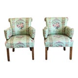 Image of 1980s Vintage Lee Jofa Hollywood Regency Armchairs - a Pair For Sale