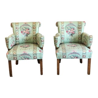 1980s Vintage Lee Jofa Hollywood Regency Armchairs - a Pair For Sale