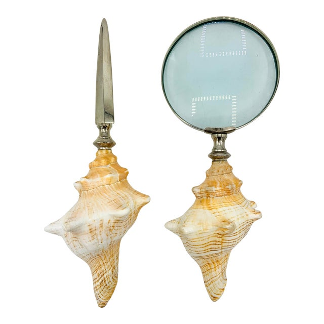 Conch Seashell Magnifying Glass & Letter Opener Desk Set For Sale