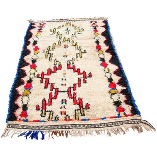 Vintage Moroccan Berber Tribal Rug From Azilal - 3′1″ × 6′10″ For Sale