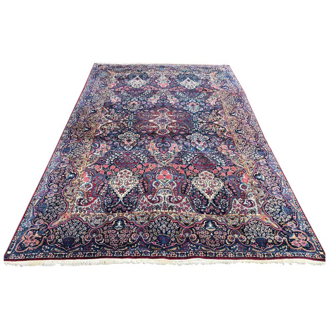 Palatial Antique Persian Carpet With Red Border, Blues, Reds, Creams, Kermin For Sale