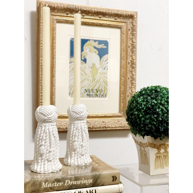 White 1970s Vintage Rope & Tassel Candlesticks - a Pair For Sale - Image 8 of 9