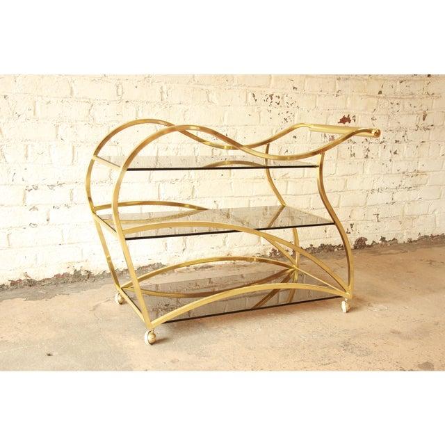 Milo Baughman for DIA Brass and Glass Bar Cart - Image 2 of 11