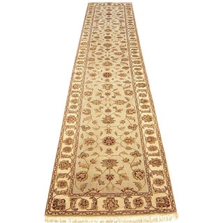 Shiraz - Floral Japur Indian Wool & Silk Runner Rug - 2'6''×13'1'' For Sale