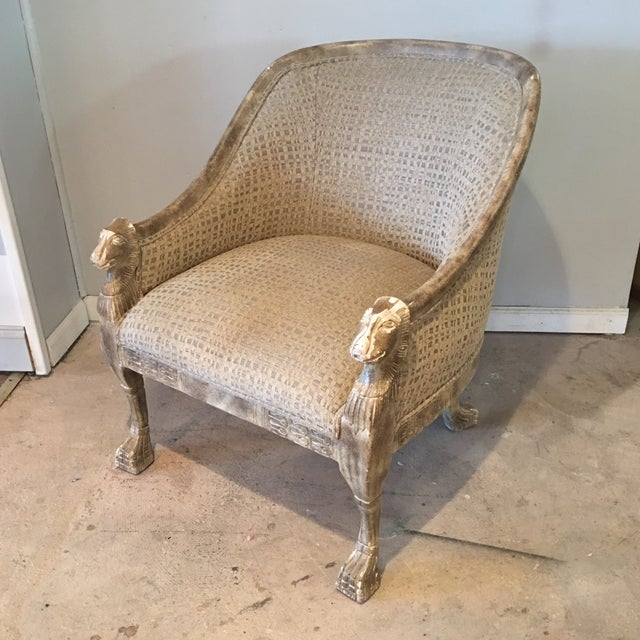 Neoclassical Lions Head Barrel Back Arm Chair For Sale - Image 11 of 11